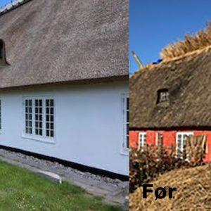 Projektet omfattede rensning, pudsning og kalkning af facade på bevaringsværdig gård