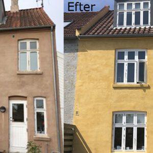 Filtsning og kalkning af facade på dobbelthus