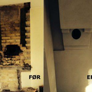 Opmuring til brændeovn: Efter nedtagning af åben pejs opmuring af skorsten, finpuds og klargøring til installation af brændeovn.